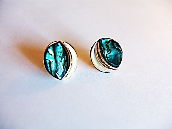 Abalone Disc Earrings - Vintage/Estate Item with … - image 2