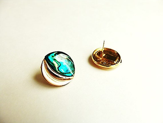 Abalone Disc Earrings - Vintage/Estate Item with … - image 3