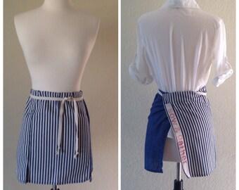 Blue striped cafe apron / ticking stripe half apron / minimalist apron for the modern farm girl