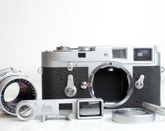 Leica M2 35mm Film Rangefinder Camera with Dual Range Summicron 50mm F/2 Lens, Close Up Focus Adapter Goggles, UV Filter, Leica Lens Cap