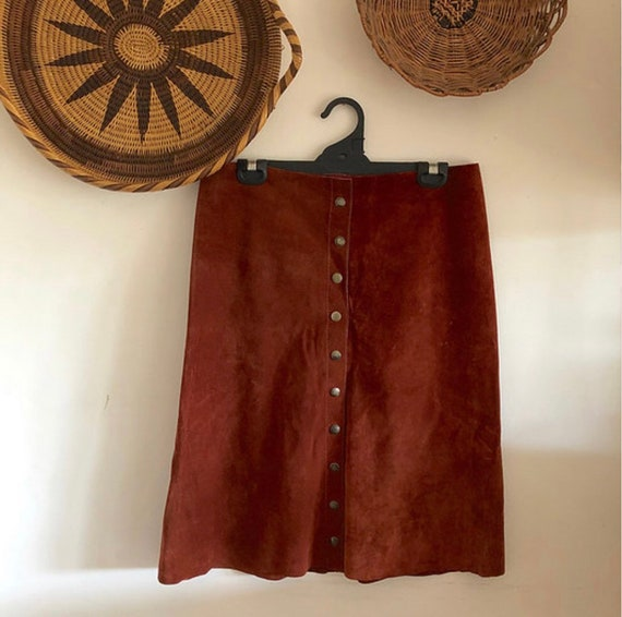 Vintage Suede 'Robert Dean' Button Front 70s Skirt