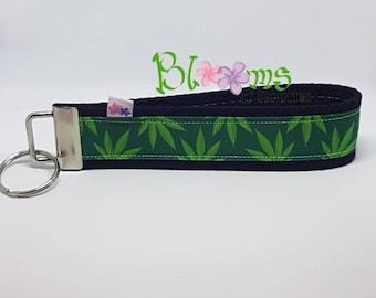 Cannabis leaves, wrist key chain, key fob, wristlet, keychain, plant