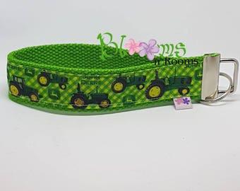 GREEN john Deere, wrist key fob, wristlet, WRIST keychain