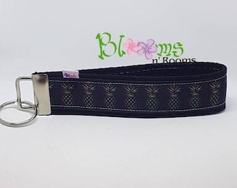 Multi-colour pineapples, wrist key chain key fob wristlet, keychain