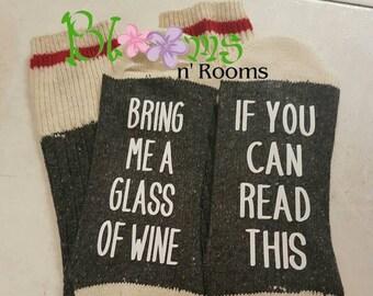 A6-Charcoal/White; If you can read this socks on dark grey, ladies socks,  wine socks,  bring me wine