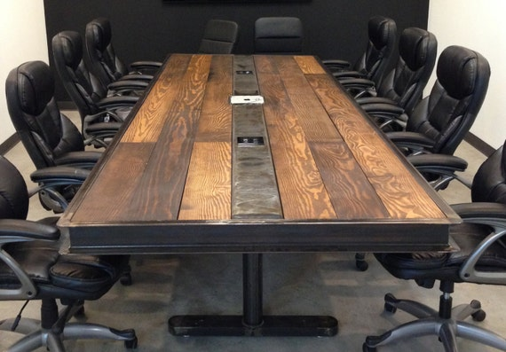 IndustrialVintage Conference Room Table W Raw Steel Body And Etsy - Industrial conference room table