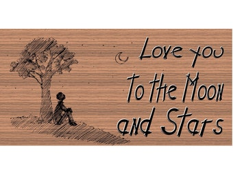 Wood Signs -I Love You to the Moon and Stars Plaque GS347