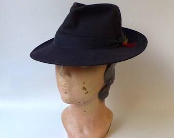 Vintage dark navy blue Stetson felt fedora hat 13b1473c7eec