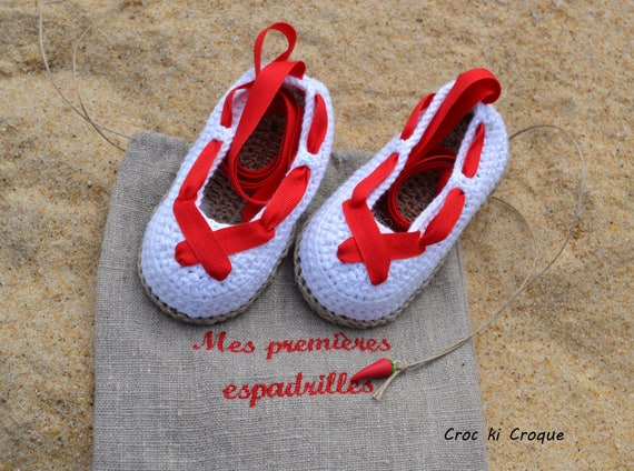 baskets pour pas cher 782e5 ced65 Espadrilles basques baby crochet Le Petit Festayre 100% Egyptian cotton and  pure linen yarn soles