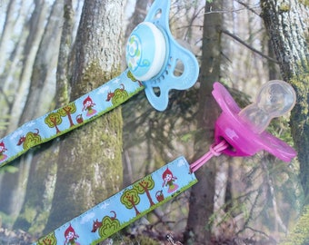 """Pacifier """"The little Red Riding Hood"""" len origin this turquoise background woven Ribbon"""