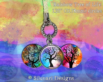 "Digital Download - Rainbow Tree of Life - 1.25"" (31.75mm) Round Printable images for jewellery, pendants, and magnets"