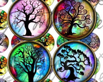 Digital Download - Rainbow Tree of Life - 1 inch (25mm) and 0.50 inch (12.6mm) Round Printable images for jewellery, pendants, and magnets