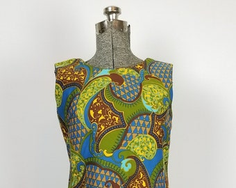1960's Mod Paisley Print Shift Dress