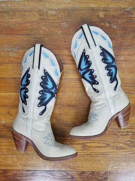 1970's Vintage Miss Capezio Butterfly Cowboy Boots