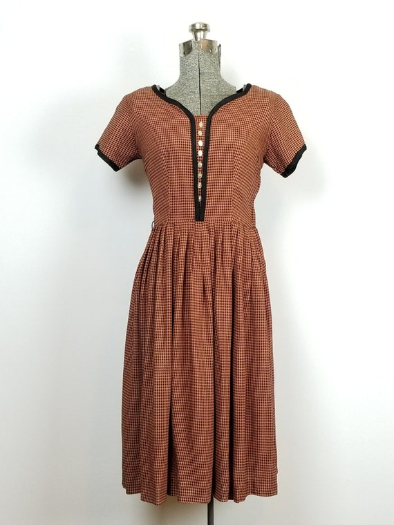 1950's Orange & Black Houndstooth  Dress