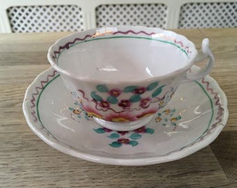 Pretty little vintage painted tea cup and saucer home decor