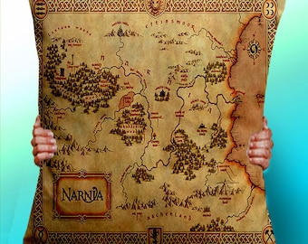 Narnia Map The Lion the witch and the wardrobe - Cushion / Pillow Cover / Panel / Fabric