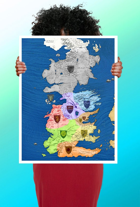 Game of Thrones Map Colour Houses - Art Print / Poster / Cool Art - Game Of Thrones Houses Map on a song of ice and fire, fire and blood, gsme of thrones map, antarctic peninsula map, the winds of winter, a storm of swords, game of thrones - season 2, usa map, a dance with dragons, house targaryen, a feast for crows, see your house map, dothraki language, walking dead map, kolkata city map, guild wars 2 map, game of thrones - season 1, ice and fire world map, george r. r. martin, a golden crown, alfie owen-allen, throne of bones map, ww2 map, king of thrones map, upside down world map, a clash of kings houses map, winter is coming, lord snow, crown of thrones map, the prince of winterfell, calabria italy map, fire and ice book map, tales of dunk and egg, gameof thrones map, a clash of kings,