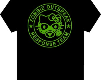 Hello Kitty Gas Mask  -  Funny Adult Zombie T-Shirt