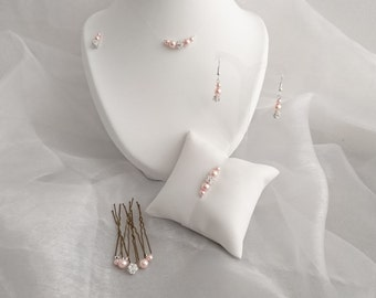 published wedding jewelry balls of rhinestone Crystal Parure jewelry marriage 5 parts powdered pink Pearly beads