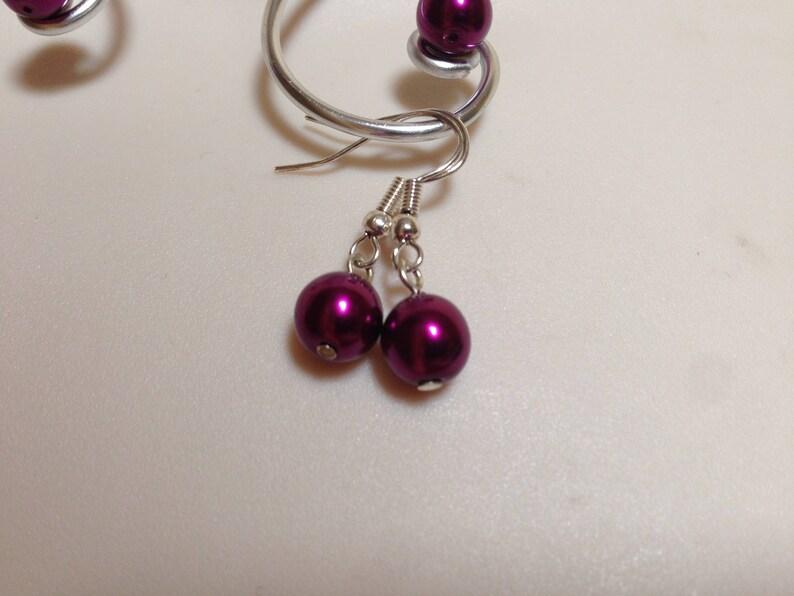 Wedding set violet purple necklace bracelet earrings arabesque aluminum beads Pearly violet purple