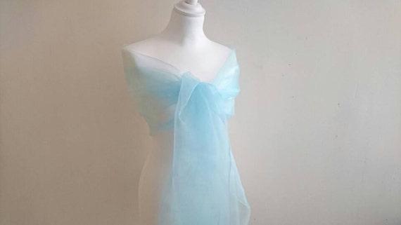 ceremony Shawl blue organza clear 50200 cm stole wedding Christmas new year celebrations birthday