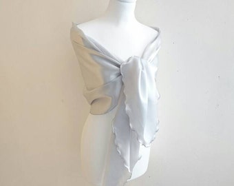 Silver grey satin etole wedding/evening/baptism/cocktail/Christmas/end-of-year party