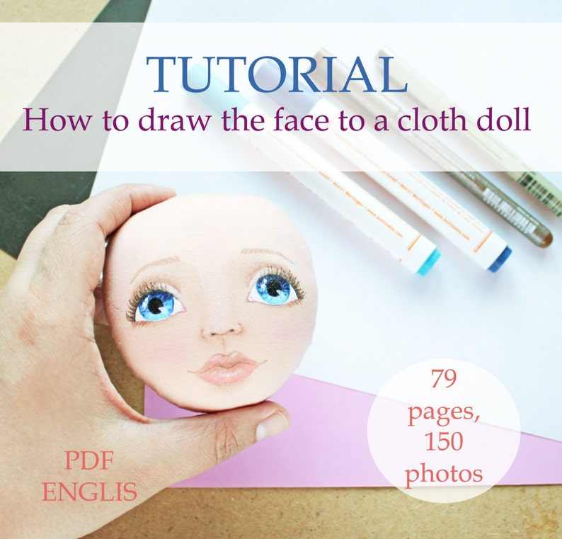 How to draw face Tutorial cloth doll pdf step by step image 0