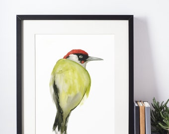 Green woodpecker watercolor poster - wildlife painting