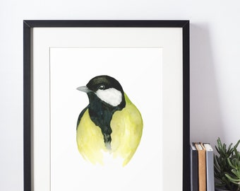 Great tit watercolor poster