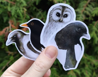 Bird stickers - black and white simple sticker pack