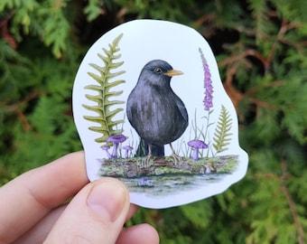 Blackbird sticker - Bird in mystical forest with mushrooms