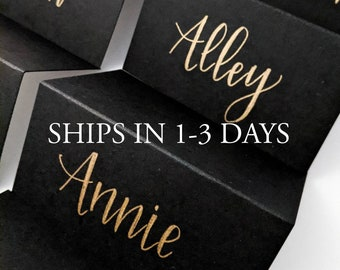Calligraphy Gold Place Cards | Rush order Placecards | Escort Cards | Wedding Table Cards | Wedding Table Tents | Wedding Table Tents
