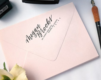 Self Inking Address Stamp   Handwritten Address Stamp   Return Address Stamp   Custom Calligraphy Stamp   Custom Wedding Address Stamp