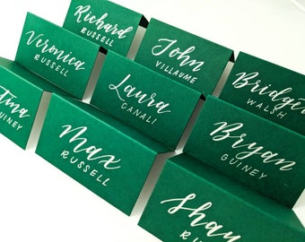 Calligraphy Place Cards | Green Placecards | Escort Cards | Wedding Table Cards | Wedding Table Tents |  Green Wedding Decor | Green Tents