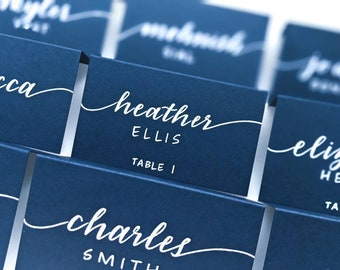 Calligraphy Place Cards | Black Placecards | Black Escort Cards | Wedding Table Cards | Wedding Table Tents | Black Table Tents | White Ink