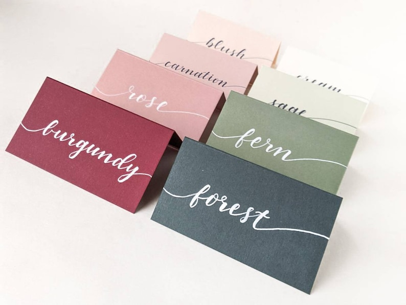 Wedding Blank Place Cards  Colored Placecards  Escort Cards image 0