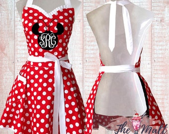 Disneyland Aprons Teachers Gifts Red Aprons Disney Aprons Etsy Aprons Minnie Disney Aprons Mickey Mouse Aprons Womens Aprons