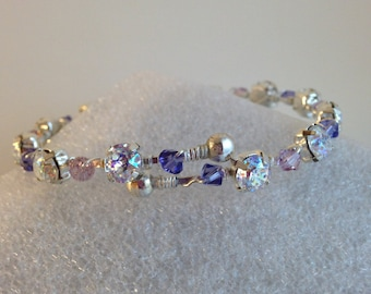 Clear AB Crystal Bangle Bracelet ~ Wire Wrapped Bracelet ~ Swarovski Crystal Bracelet ~ Silver Bangle ~ Beaded Wrap Bracelet ~ Clear Patina
