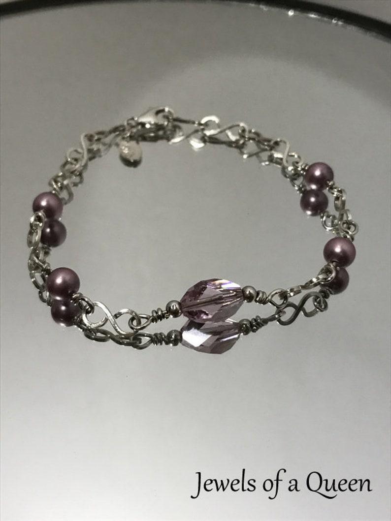 065a28048bf0 Antique Pink Swarovski Crystal Bracelet Handmade Silver