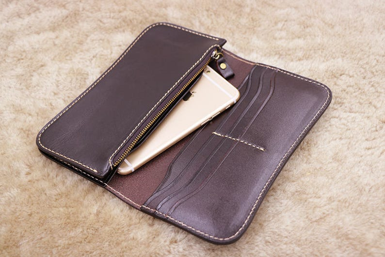 04928eb58aa1 Mens Gift Coffee Wallet Mens Leather Wallet Clutch Wallet   Etsy