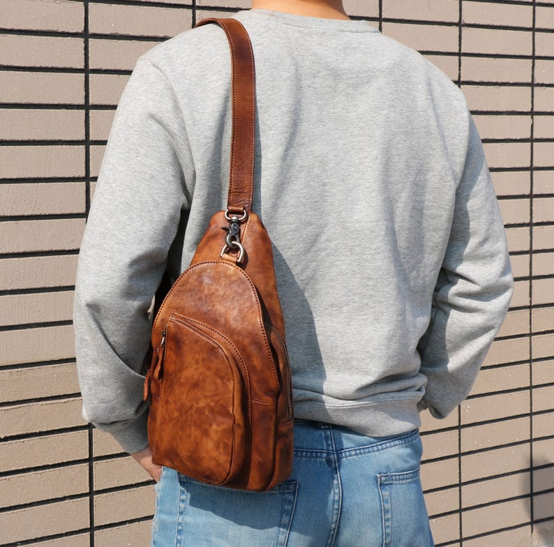 7359b0386f Leather Sling Bag Backpack with Single Strap Mens Crossbody