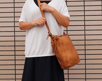 Brown Leather Crossbody Bag, Leather Messenger Bag Women, Personalized Leather Bag, Leather Shoulder Bag, Crossbody Bag, Handmade Bag