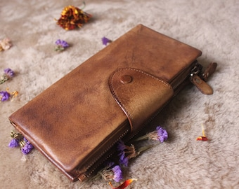 Trifold leather Wallet Woman, Brown Trifold Purse, Ladies Leather Wallet, Personalized Wallet, Monogrammed Wallet, Brown Womens Wallet