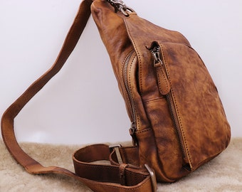 Leather Sling Bag, Backpack with Single Strap, Mens Crossbody Leather Pack, Men's Shoulder Bag,  Gifts For Mens, Men's Bag,Leather Bag