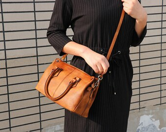 Leather Crossbody Bag, Leather Bag, Leather Messenger Bag Women, Leather Shoulder Bag, Brown Leather Bag, Small Leather Tote, Gift
