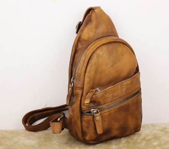 Backpack with Single Strap, Leather Sling Bag, Mens Crossbody Leather Pack, Men's Shoulder Bag, Gifts For Mens, Men's Bag