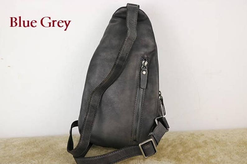 ab0020e5b1 Leather Sling Bag Backpack with Single Strap Mens Crossbody