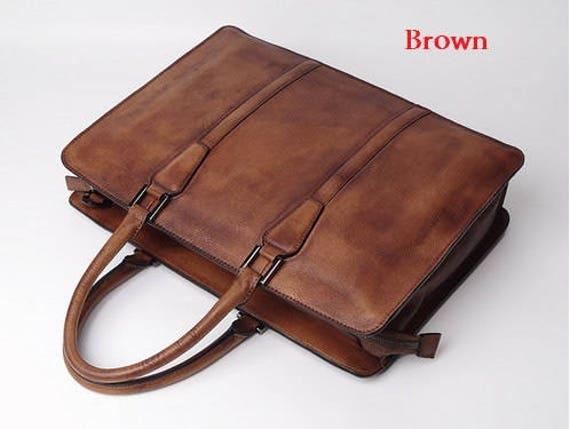 Brown Leather Briefcase 14 inch Laptop Bag Laptop Briefcase  9fd7e0cb10
