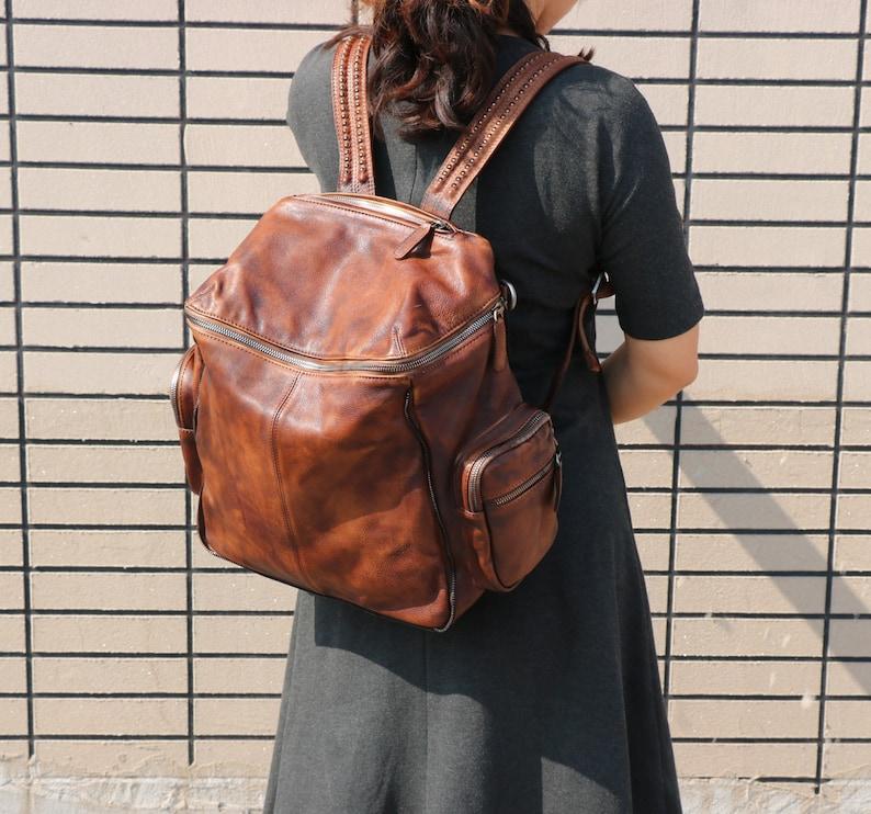 Leather Backpack,Woman Backpack,Travel Backpack,Brown Leather Backpack,Large Leather Tote,Laptop Bag,Work Backpack,Leather Shoulder Bag,Gift